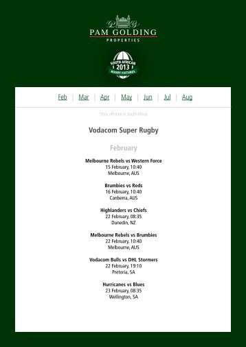 Vodacom Super Rugby February - Pam Golding Properties