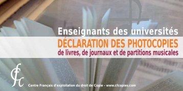 Déclaration des photocopies : droits d'auteurs - IUFM