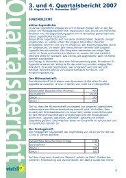 3. und 4. Quartalsbericht 2007 - Verein Jugendarbeit Wetzikon  (VJW)