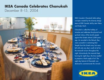 IKEA Canada Celebrates Chanukah December 8-15, 2004
