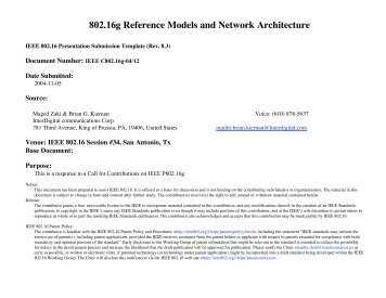 802.16g Reference Models and Network Architecture