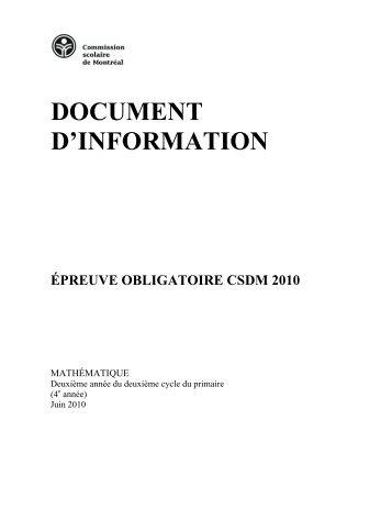 Document d'info Épreuve obligatoire mathématique 2e cycle CSDM ...