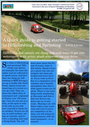 A Quick guide to getting started in Hillclimbing and Sprinting By Wil ...