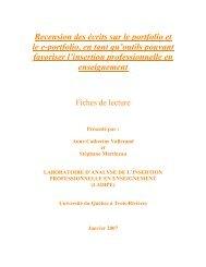 Recension des écrits sur le portfolio et le e-portfolio - Carrefour ...