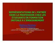 Représentations de l'entrée dans la profession - Carrefour national ...