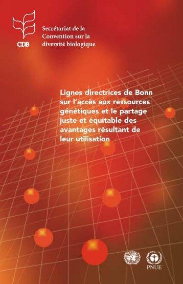 Lignes directrices Bonn - Bureau des Ressources Génétiques