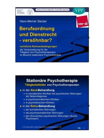 Vortrag Dienstrecht - Verband Psychologischer ...