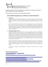 Prise de position du CSAJ : Initiative parlementaire Bortoluzzi - SAJV