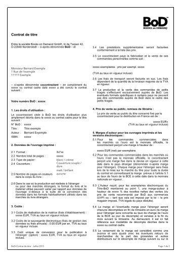 Contrat de titre - Books on Demand