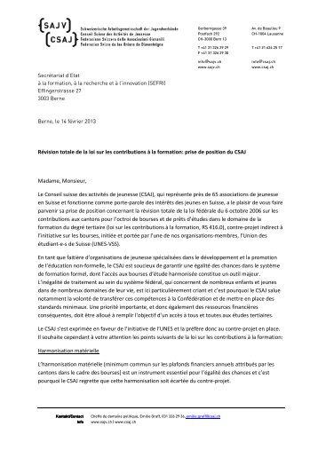 Révision totale de la loi sur les contributions à la formation: prise de ...