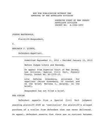 Mastropole v. Giunta - Appellate Law NJ Blog