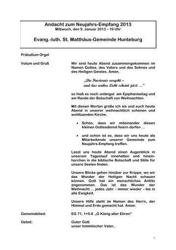 Mittwoch, 9. Januar 2013 - St.Matthaeus-Gemeinde Hunteburg
