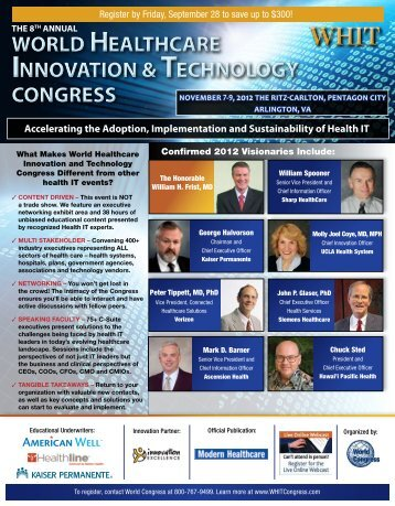 WORLD HEALTHCARE INNOVATION & ECHNOLOGY CONGRESS ...
