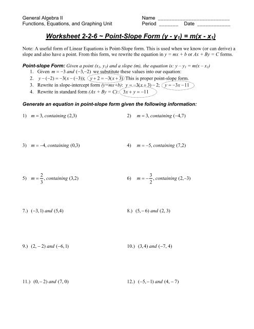 Worksheet 2-2-6 ~ Point-Slope Form