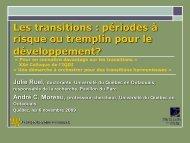 Les transitions: période à risque ou tremplin pour le développement