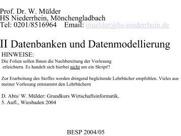 II Datenbanken und Datenmodellierung