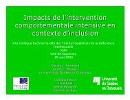 Impacts de l'intervention comportementale intensive en contexte d ...