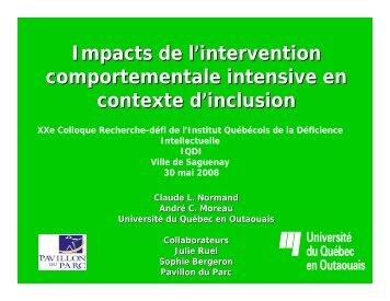 Impacts de l'intervention comportementale intensive en contexte d ...