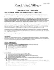 Events and Communications Coordinator - Community Legacy ...