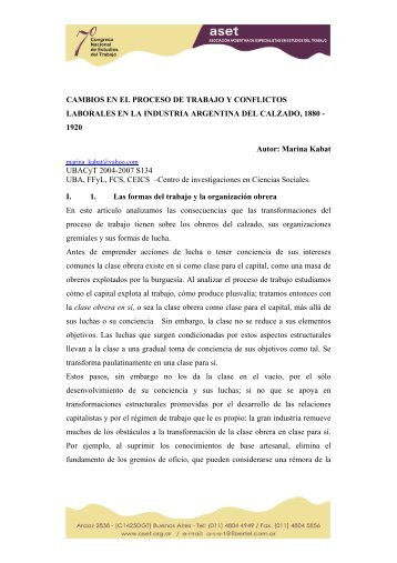 CAMBIOS EN EL PROCESO DE TRABAJO Y CONFLICTOS ... - ASET