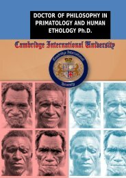 DOCTOR OF PHILOSOPHY IN PRIMATOLOGY AND HUMAN ETHOLOGY Ph.D.
