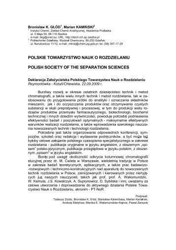 Polskie Towarzystwo Nauk o Rozdzielaniu - Zakład Chemii ...