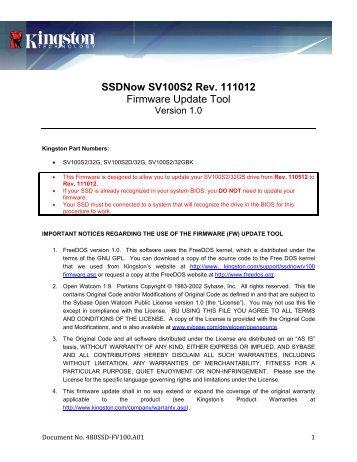 Kingston SS100S2 8GB D100309a SSD Treiber