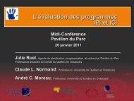 L'évaluation des programmes IPI et ICI