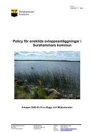 Policy enskilda avlopp.pdf - Surahammars kommun