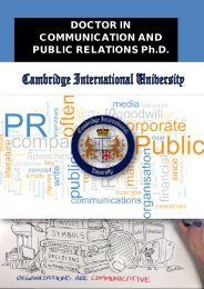 DOCTOR IN COMMUNICATION AND PUBLIC RELATIONS Ph.D.