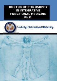 DOCTOR OF PHILOSOPHY IN INTEGRATIVE FUNCTIONAL MEDICINE Ph.D.