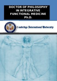 DOCTOR OF PHILOSOPHY IN INTEGRATIVE FUNCTIONAL MEDICINE Ph.D.
