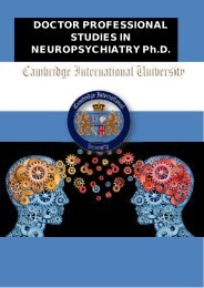 DOCTOR PROFESSIONAL STUDIES IN NEUROPSYCHIATRY Ph.D.