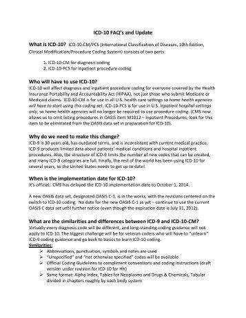 ICD-10 FAQ's and Update - Selman-Holman & Associates