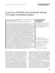A survey of dental care protocols among US organ transplant centers