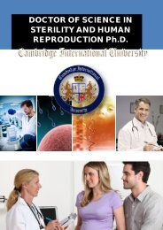 DOCTOR OF SCIENCE IN STERILITY AND HUMAN REPRODUCTION Ph.D.