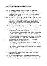 Reglement für die Benützung der Gemeindesäle