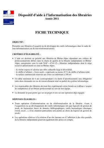 Dispositif d'aide à l'informatisation des librairies FICHE ... - Arald