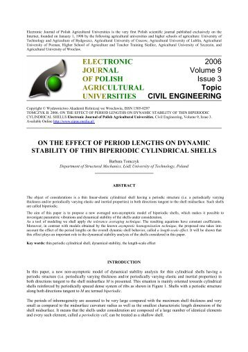 on the effect of period lengths on dynamic stability of thin biperiodic ...