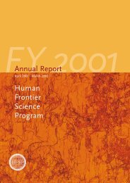 Annual Report Fiscal Year 2001/2002 - Human Frontier Science ...