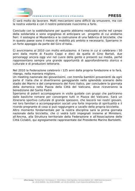 Saluto Presidente Federazione Ciclistica Taliana, Renato Di Rocco ...