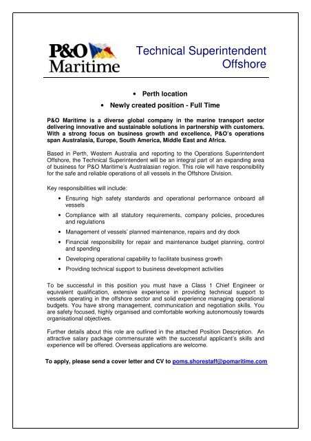 Technical Superintendent Offshore - P&O Maritime Services