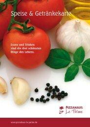 Speise & Getränkekarte - Pizzahaus Le Palme