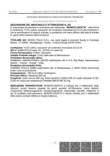 DESCRIZIONE DEL MEDICINALE E ATTRIBUZIONE ... - Gazzette.info