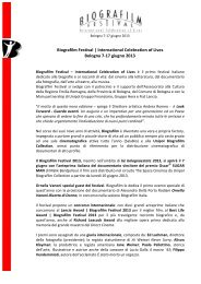 Biografilm Festival 2013 - comunicato stampa - Bologna Welcome