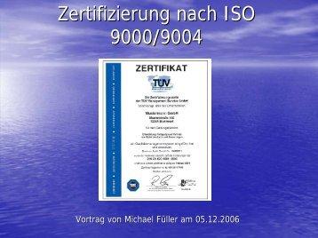 Zertifizierung nach ISO 9000/9004