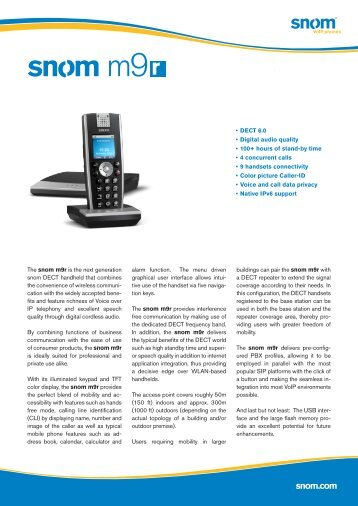 Snom M9R DECT VoIP Phone Datasheet (PDF) - VoIPon.co.uk