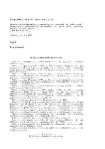 DECRETO LEGISLATIVO 14 marzo 2013, n. 33 (GU ... - Comune Meri