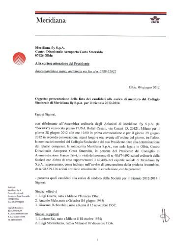 Lista candidati Collegio Sindacale Meridiana S.p.A.