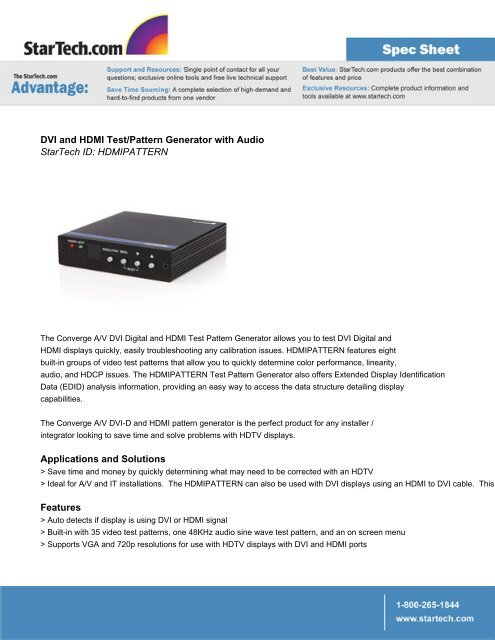 DVI and HDMI Test/Pattern Generator with Audio StarTech ID